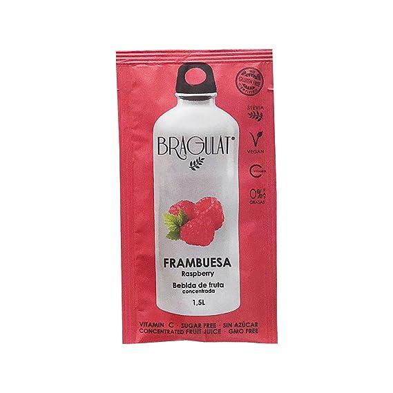 FRAMBUESA BRAGULAT 15 Sobres de Bebida Soluble a base de Zumo de Fruta Concentrada con Vitaminas Sin Azúcar