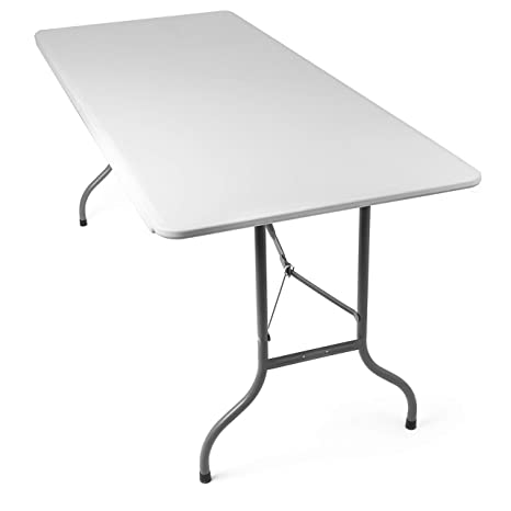 Tavoli Di Plastica Pieghevoli.Tavolo Pieghevole Da Giardino Bianco Perfetto Come Tavolo Da Campeggio Da Buffet Da Cucina Tavolino Esterni Richiudibile A Valigetta Con Maniglia