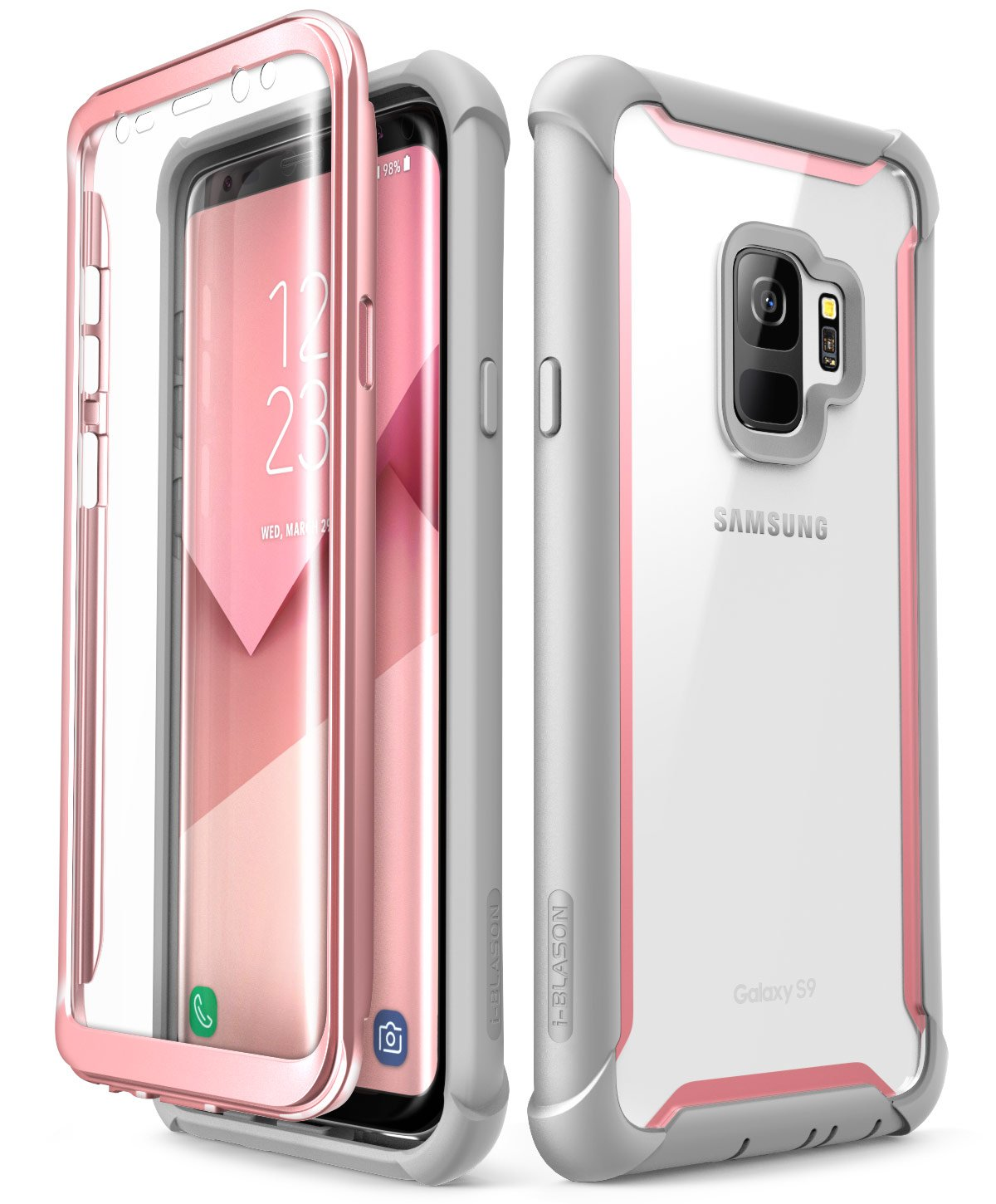 i-Blason Case for Galaxy S9 2018 Release, [Ares] Full-body Rugged Clear Bumper Case with Built-in Screen Protector (Pink)