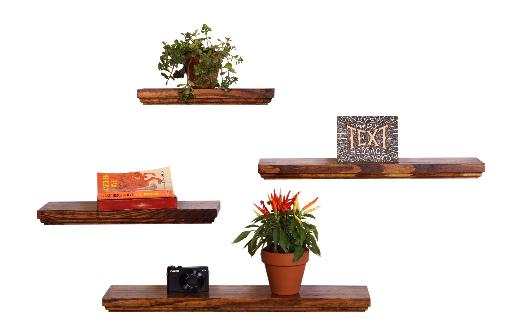 DAKODA LOVE Routed Edge Floating Shelves, USA Handmade, Clear Coat Finish, 100% Countersunk Hidden Floating Shelf Brackets, Beautiful Grain Pine Wood Wall Decor (Set of 4) (Bourbon)