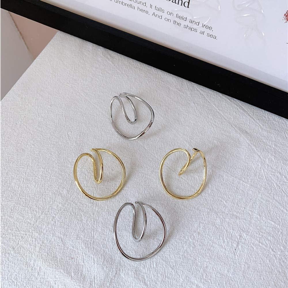 HTYA Hooping Ear Cuff-Geometry Earring Ear Clip, Gorgeous Hooping Ear Cuff Minimalist and Gleaming Ear Cuff For Women Non Piercing Heli(Gold+Silver)