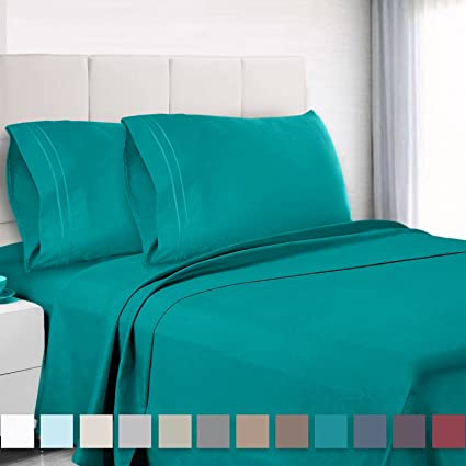 Premium Queen Size Sheets Set   Teal Turquoise Hotel Luxury 4 Piece Bed Set,