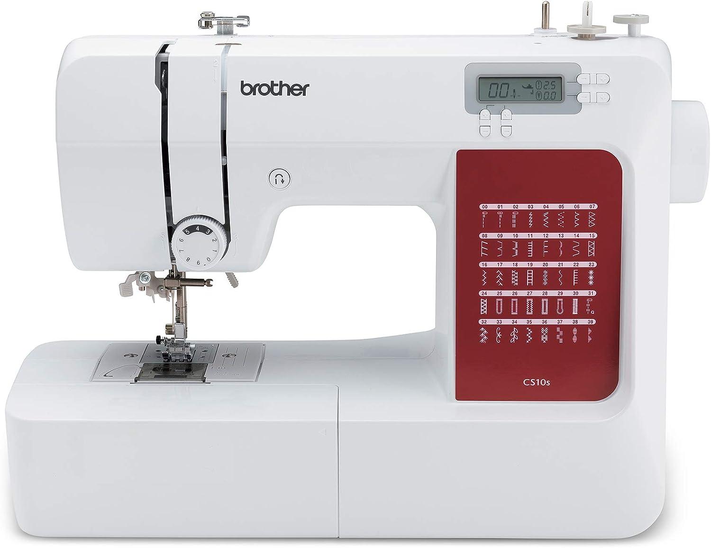 Brother CS10s Máquina de coser, Metal, blanco, rojo, Full-size sewing machine