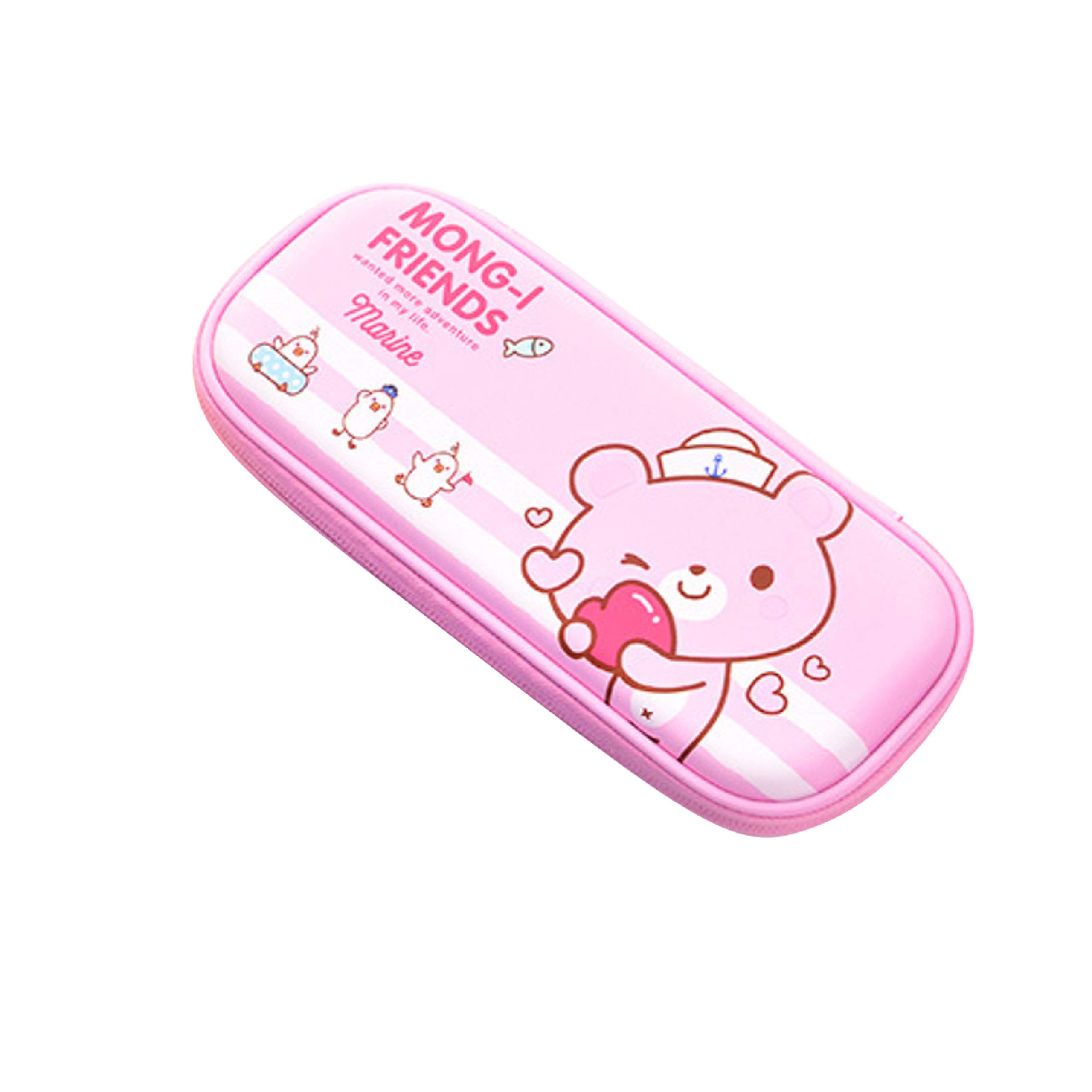 Big Capacity Pencil Case by Hitos | Cute Animal Pencil Box for Kids, Teens, Cute, Colorful Pencil Bag for School (Pink)