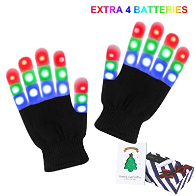 Lafefo LED Gloves Kids - LED Light Up Gloves for Kids with 3 Colors 6 Modes, LED Gloves for Halloween Party and Chrismans Eve, Extra Batteries & Gift Box with Christmas Card: Toys & Games