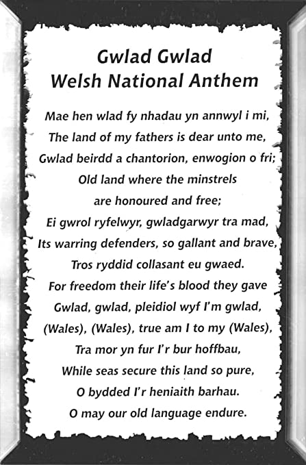 MIRRORED GLASS WELSH NATIONAL ANTHEM IN 6x4