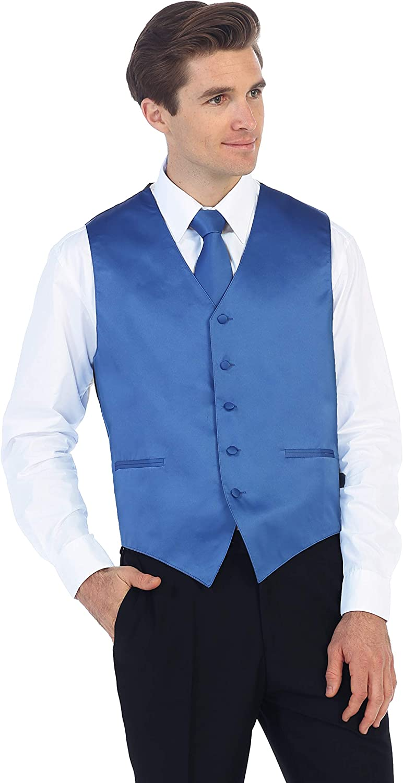 Gioberti Mens Formal 4pc Satin Vest Necktie Bowtie and Pocket Square