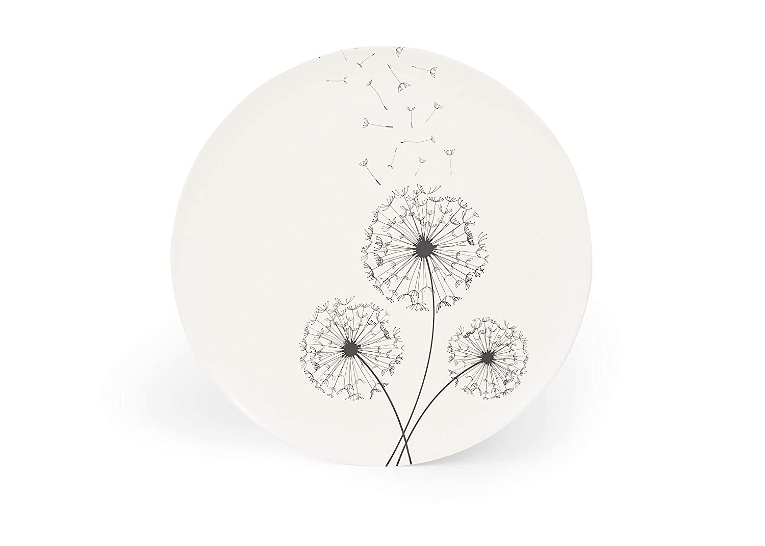"Aquaterra Living Ecofriendly Dinner Plate Set with Dandelion Designs- Set of 6, 10"" indoor or outdoor plates"