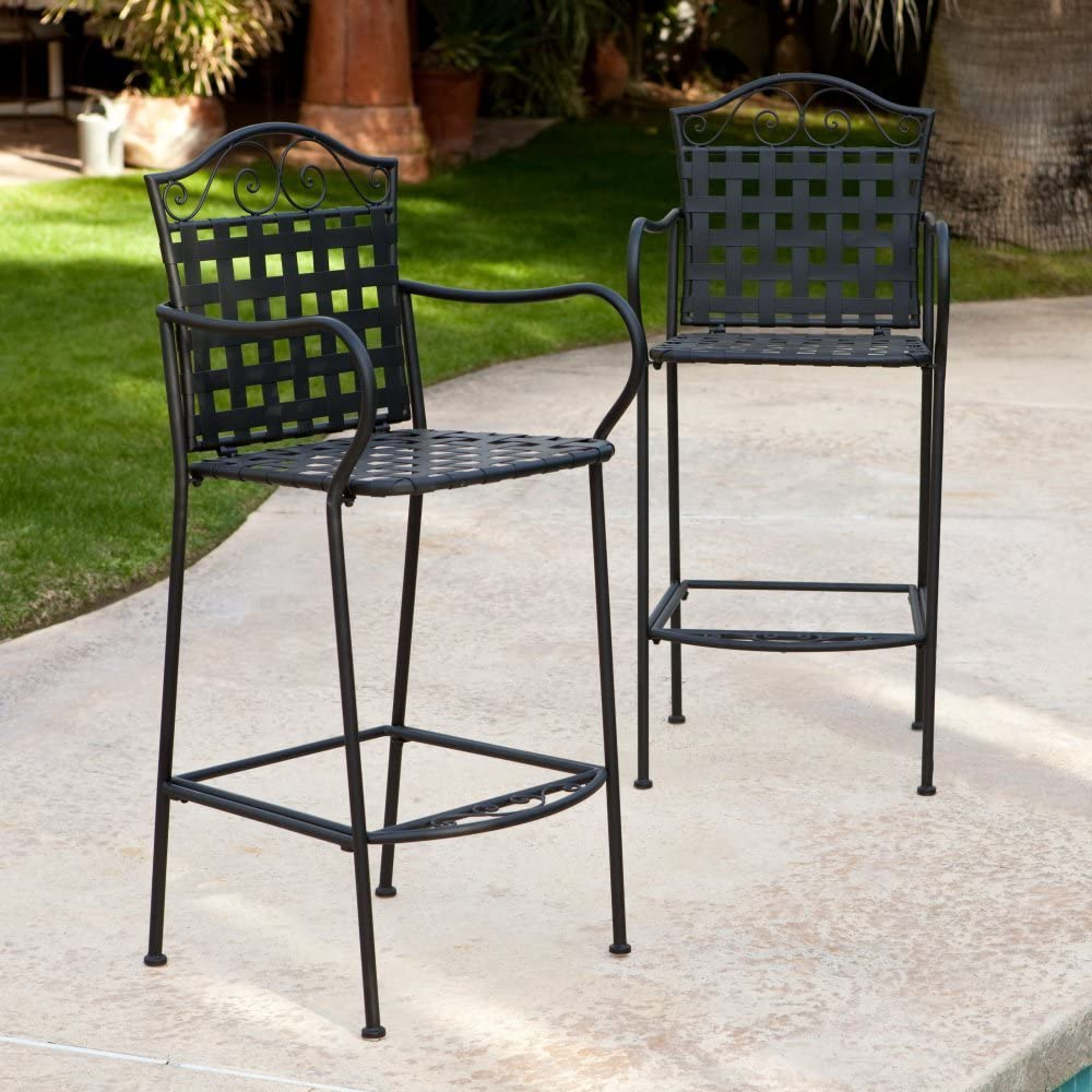 Belham Living Capri Wrought Iron Outdoor Bar Stool by Woodard – Set of 2