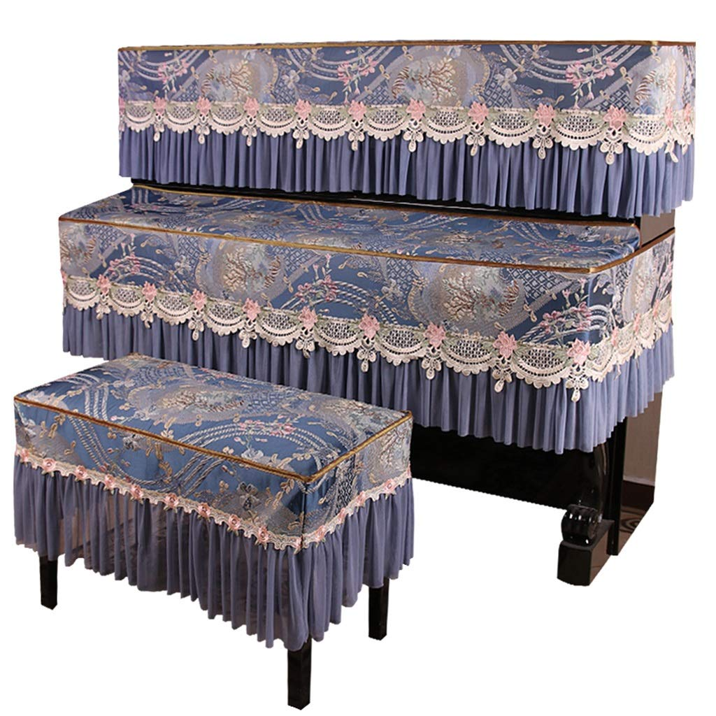 Three-piece Piano Cover, Half-cover Dust-proof Suspension Machine Washable Portable Blue (Color : Blue-Stool cover77x37cm) by GQZ-Piano