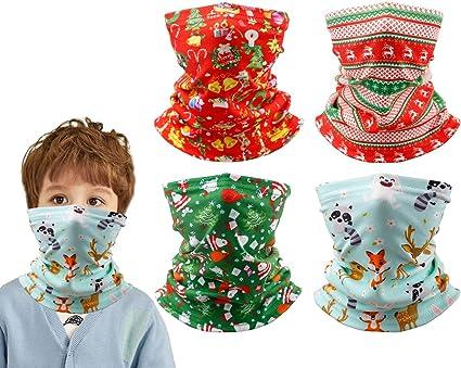 Kid Boy Girl Multi-use Neck Warm Scarf Bandana Christmas Tree Elk Xmas Headband