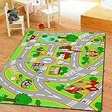 "HUAHOO Kids' Rug With Roads Kids Rug play mat City Street Map Children Learning Carpet Play Carpet Kids Rugs Boy Girl Nursery Bedroom Playroom Classrooms Play Mat Children's Area Rug (39.4"" x 59"")"