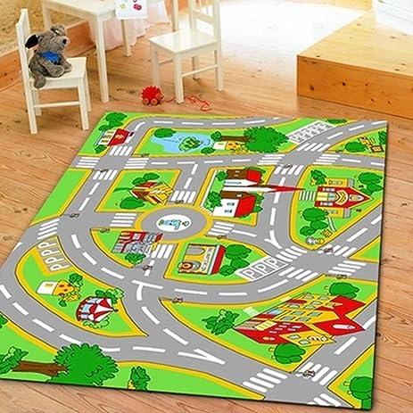 Amazon.com: HUAHOO Kids\' Rug With Roads Kids Rug play mat City ...