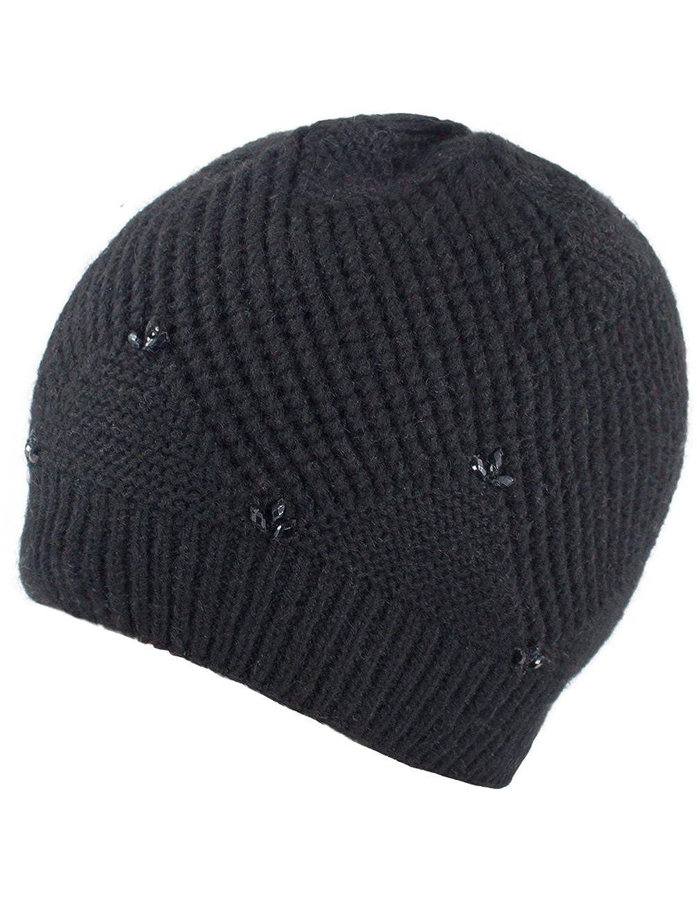 Dahlia Women s Angora Blend Beaded Slouch Beanie Winter Hat Dual Layer 10a0041008a