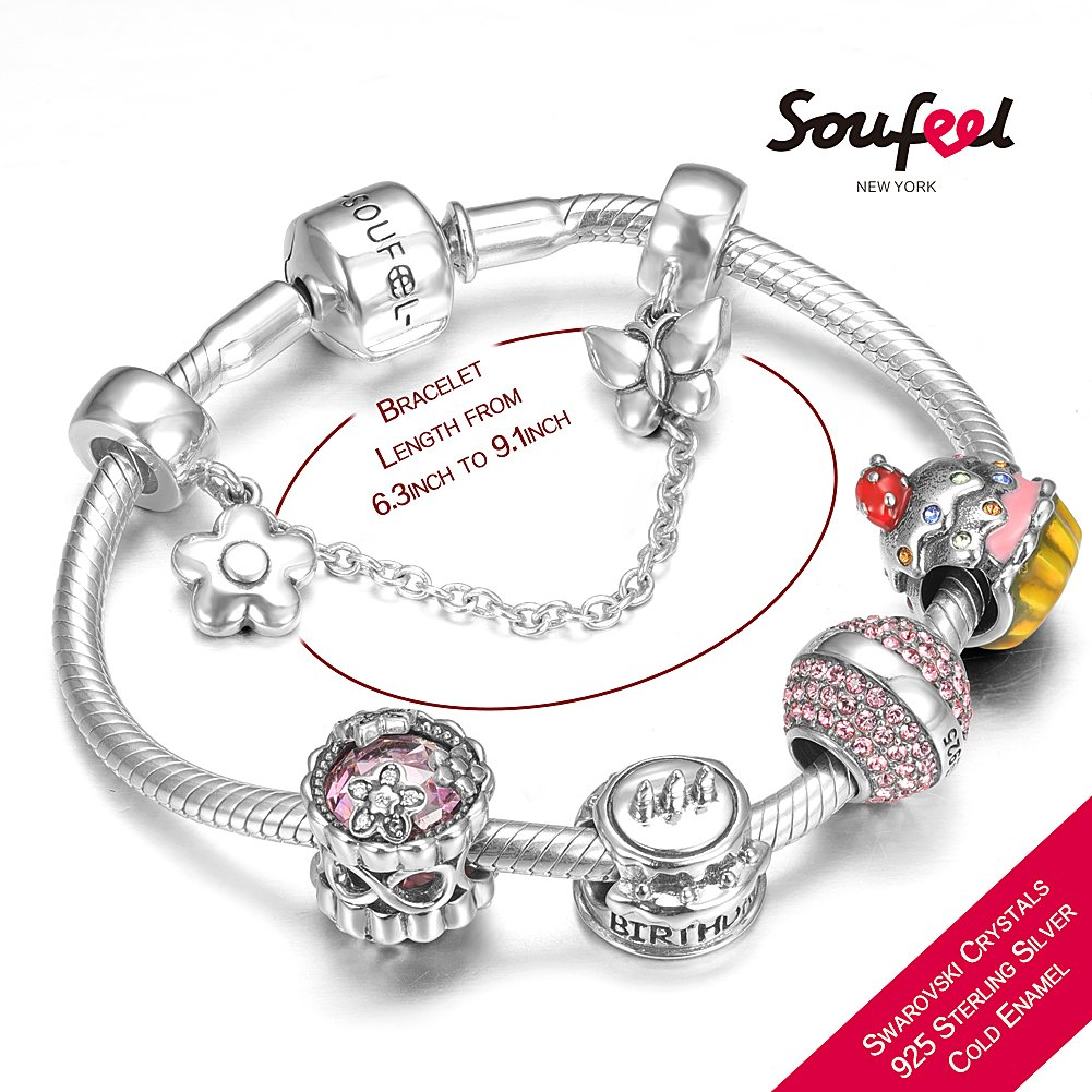 SOUFEEL ''Happy Birthday'' Bracelet 925 Sterling Silver Charm Bracelets 9.1 Inch With Safety Chain Birthday Gift by SOUFEEL (Image #2)