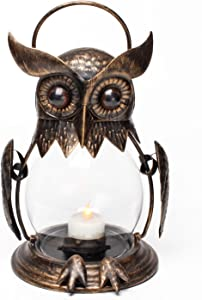 Romingo Vintage Owl Hanging Lantern for Outdoor & Indoor Party Décor Owl Gift Christmas Decoration , Gold (Tea Light Included)