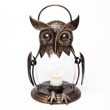 Búho portátil farol hierro para colgar portavelas para velas de té con portavelas