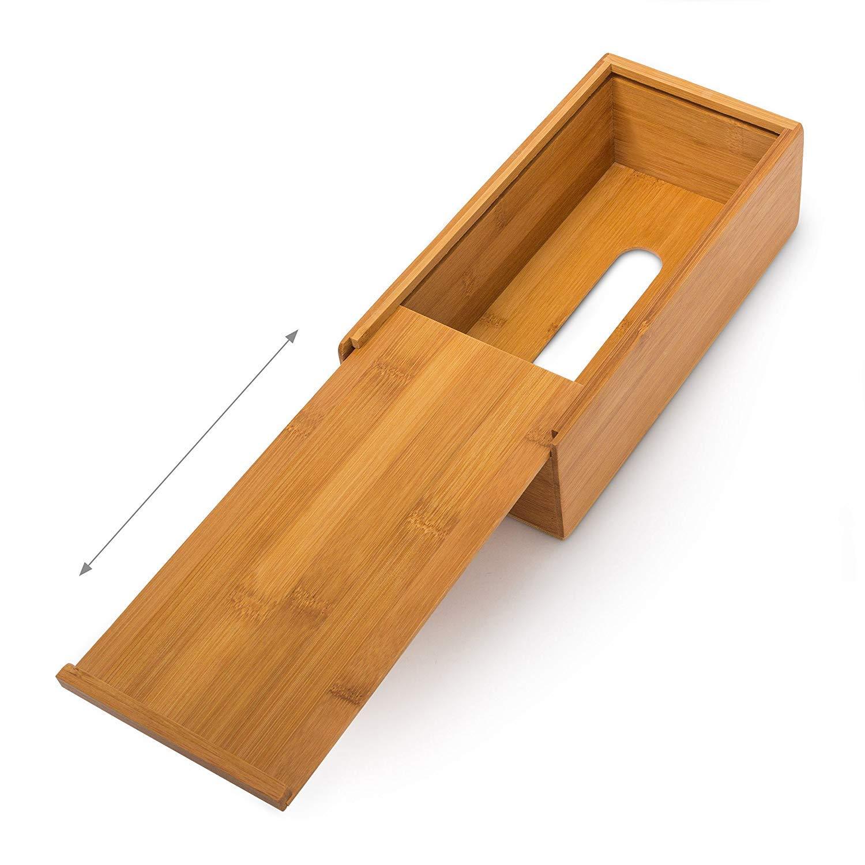 Caja de bamb/ú BKAUK 7,5 x 24 x 12 cm, se Puede Utilizar para pa/ñuelos de Papel, como dispensador de Toallas de Papel con Parte Inferior extra/íble como Estuche cosm/ético