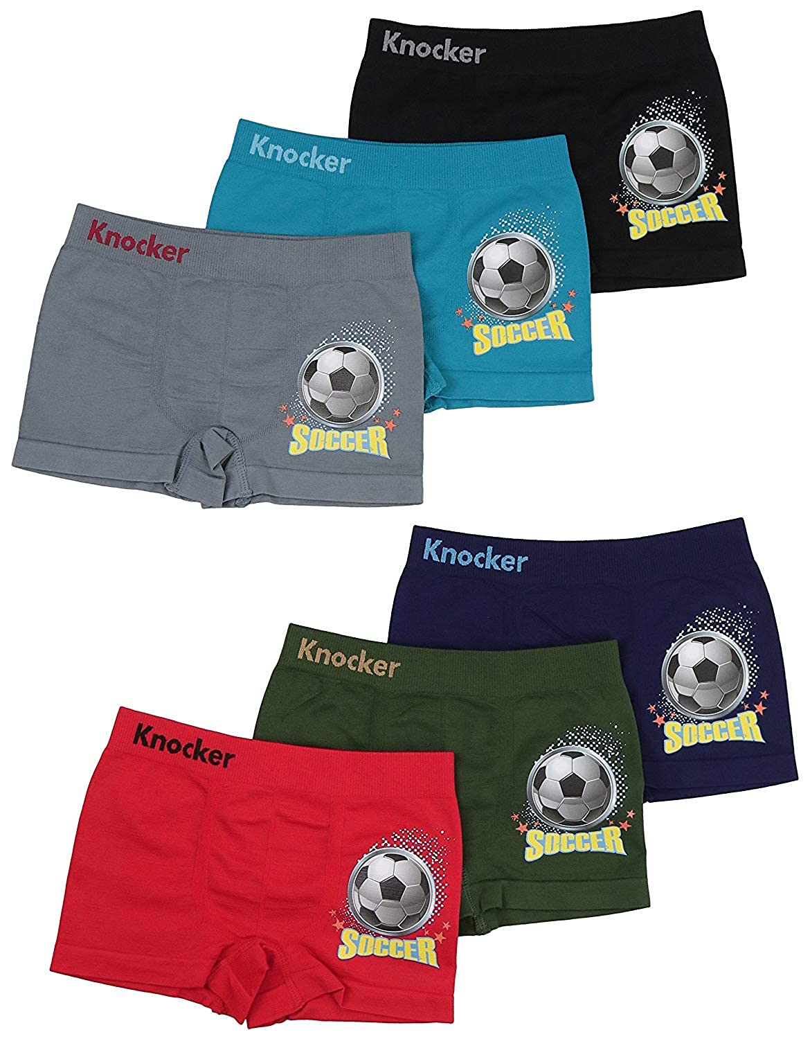 ToBeInStyle Boys Pack of 6 Seamless Soccer Boxer Briefs