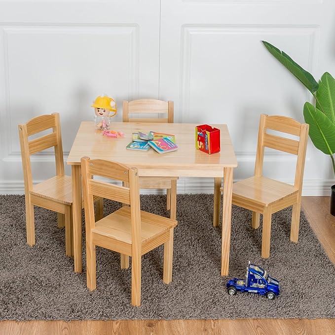 Amazon.com: Kids 5 Pcs. Table Chair Set Pine Wood Children Play Room ...