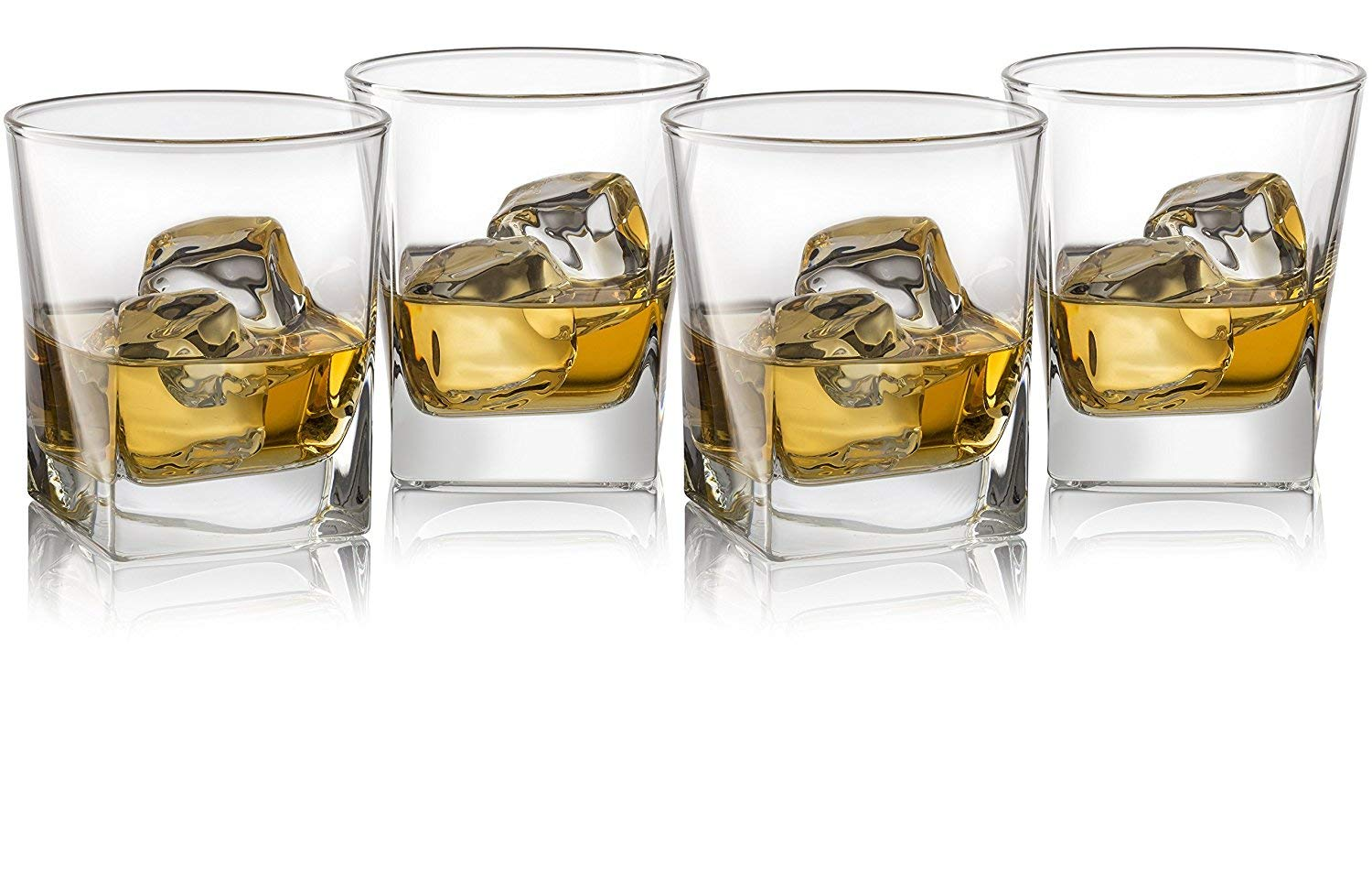 Double Old Fashioned Whiskey Glass (Set of 4) with Granite Chilling Stones – 10 oz Heavy Base Rocks Barware Glasses for…