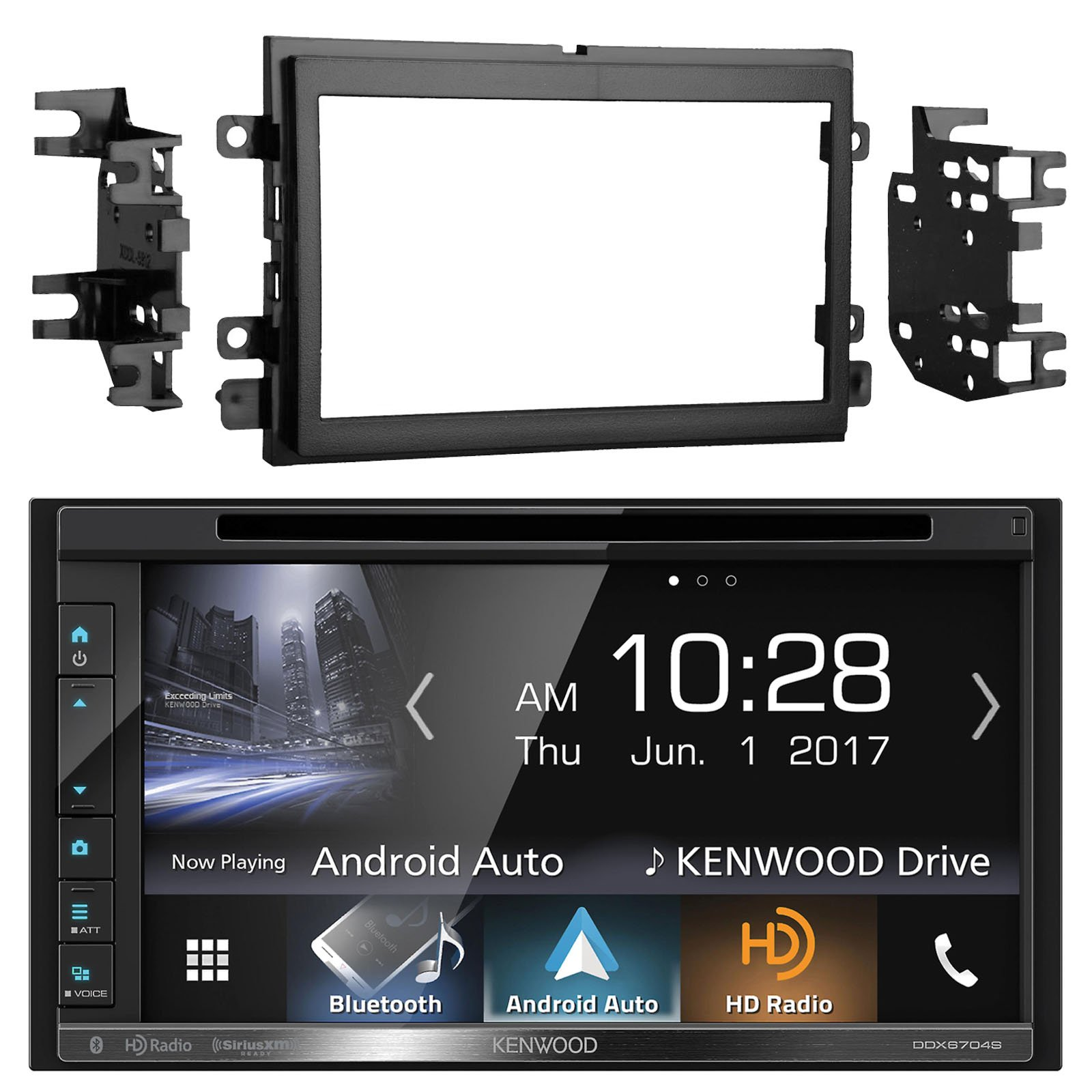 Kenwood DDX6703S 6.2'' Inch Touchscreen Double-DIN CD DVD Player Car Stereo Receiver with Apple Carplay - Bundle Combo With Metra 95-5812 Black Installation Kit for Select 2004 and Up Ford Vehicles