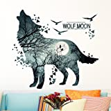 Mexidi Wolf Moon Wall Decal Sticker Art Decor Decal Home Living Room Bedroom Office Corp Mural
