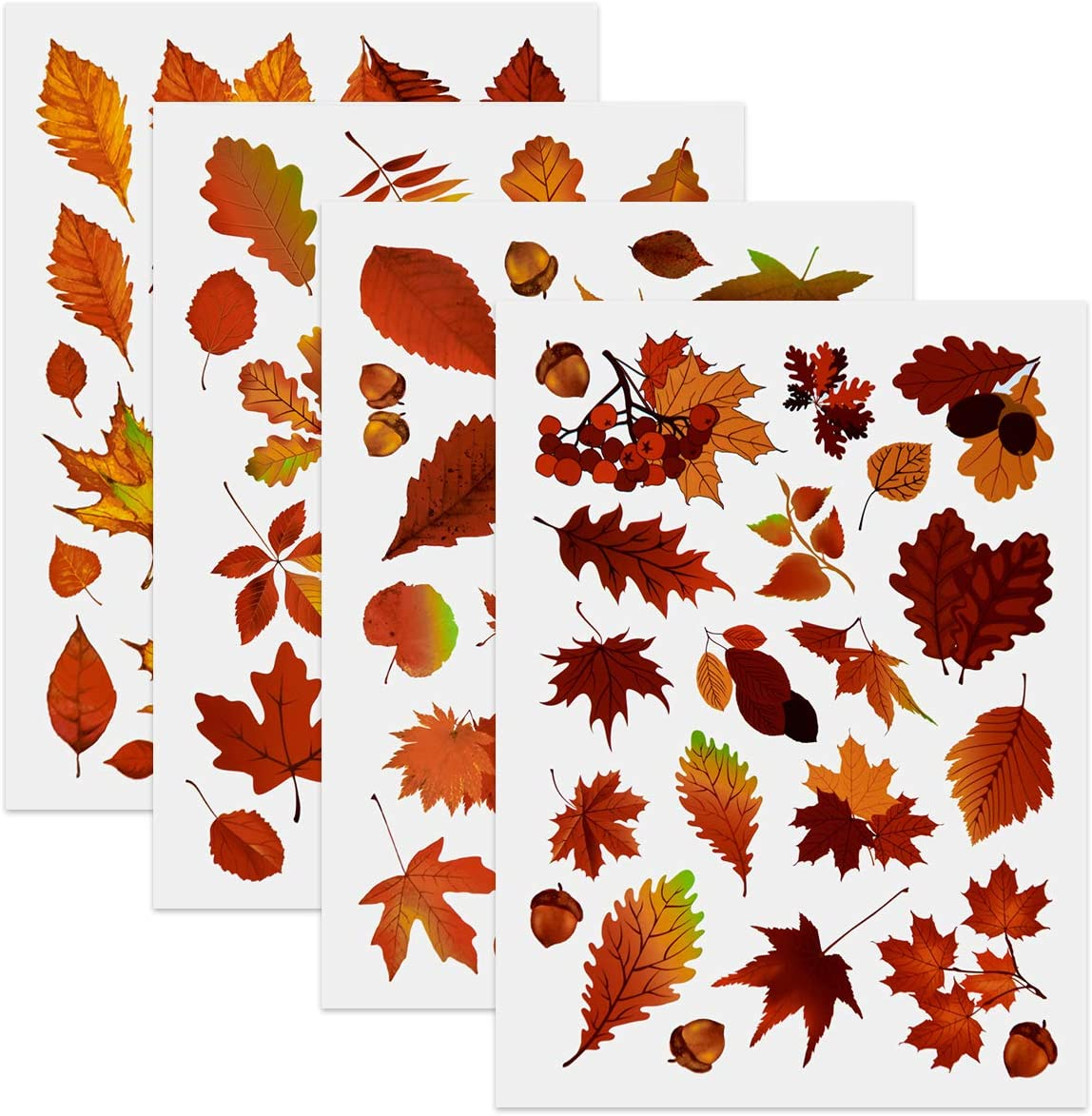 174 Pcs 8 Sheets Maple Leaf Window Stickers Static Cling Reusable Window Decals Glass Stickers for Autumn Party Decoration//Thanksgiving Supplies//Kids Fun