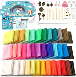 HOLICOLOR 38 Colors (1.4 Ounce Per Pack) Polymer Clay Kit Includes Extra 1 White and 1 Black Oven Bake Clay with Accessories Sets and 14 Sculpting Tools, Manual Book, Magic Modeling Clay kit