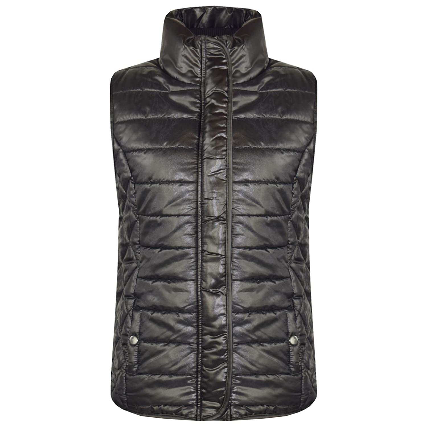 A2Z 4 Kids® Kids Girls Boys Jacket Designer's Black Wet Look Sleeveless Padded Lined Quilted Gilet Bodywarmer Fashion Jackets Age 5 6 7 8 9 10 11 12 13 Years