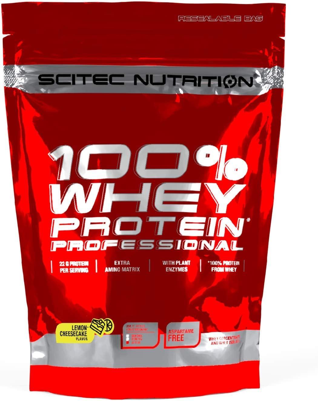 Scitec Nutrition 100% Whey Protein Professional con aminoácidos clave y enzimas digestivas adicionales, 500 g, Limón-Tarta de queso