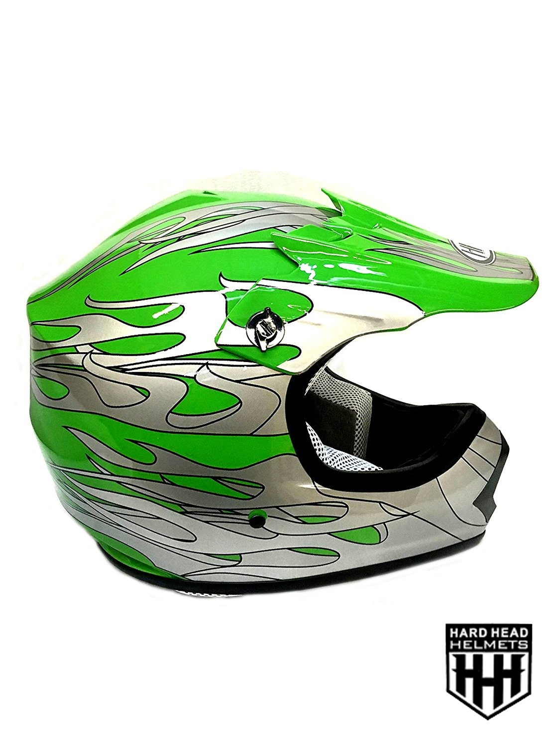 SmartDealsNow YOUTH DOT Helmet Green Flame Color Dirt Bike Style Youth Model Small