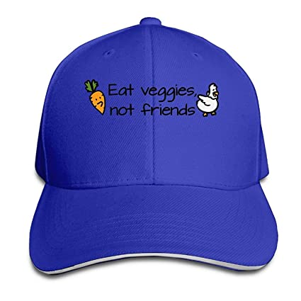 Eat Veggies Not Friends Gorra Unisex Low Profile Cotton Hat Gorras de béisbol Blancas 01Y98