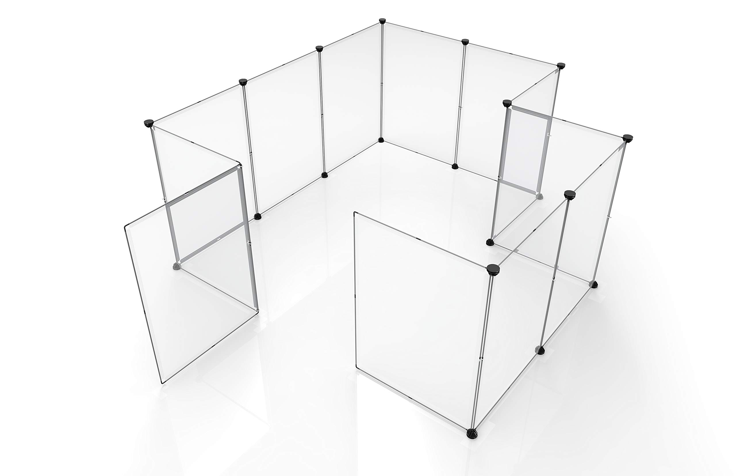 Tespo Pet Playpen, Portable Large Plastic Yard Fence Small Animals, Puppy Kennel Crate Fence Tent (Transparent White 12 Panels, 60x60x28 Inches) by Tespo