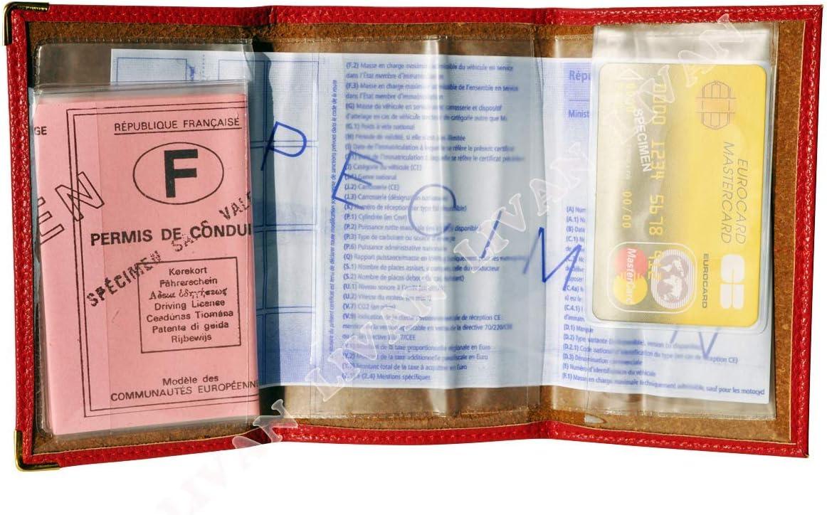 Ancienne Carte Grise Grand Format identit/é et Assurance permis Conduire Voiture L303 Etui Carte Grise Cuir 3 Volets Camel LIVAN/® Plusieurs Couleur Homme et Femme
