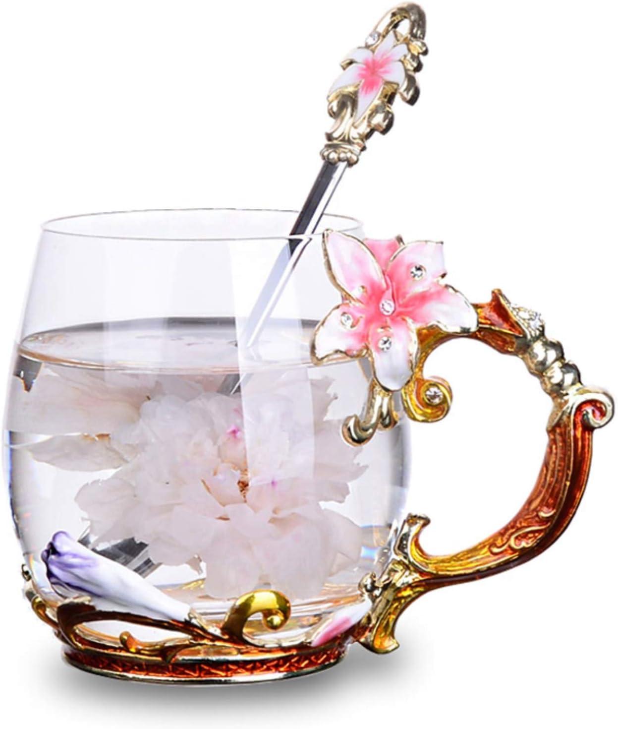 Tea Cup Coffee Mug Cups, Handmade Lily Flower Glass Coffee Cup 12 oz Ideal for Friend Wedding Anniversary Christmas Birthday Presents(Pink)