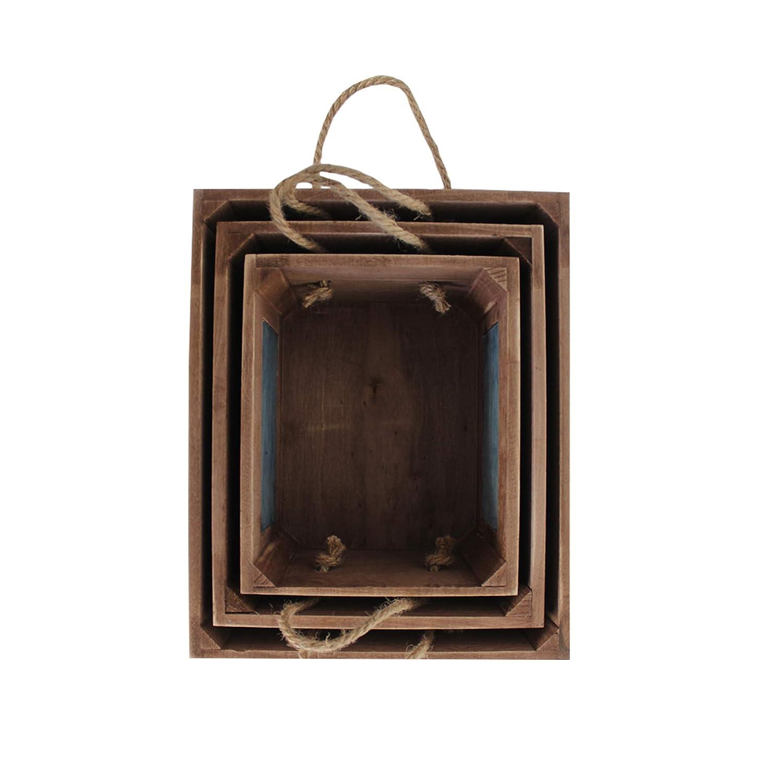 Rebecca Mobili 3 Pz Cajas Contenedores Madera Marrón Con Manijas Diseño Rustico Porta Souvenir Para Boda (Cod. RE6111): Amazon.es: Hogar