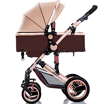 0a27544fb Amazon.com   YBL High landscape Baby stroller Four rounds folding stroller Can  sit Can lie down Four seasons available Newborn car Suitable for 0-3 years  ...