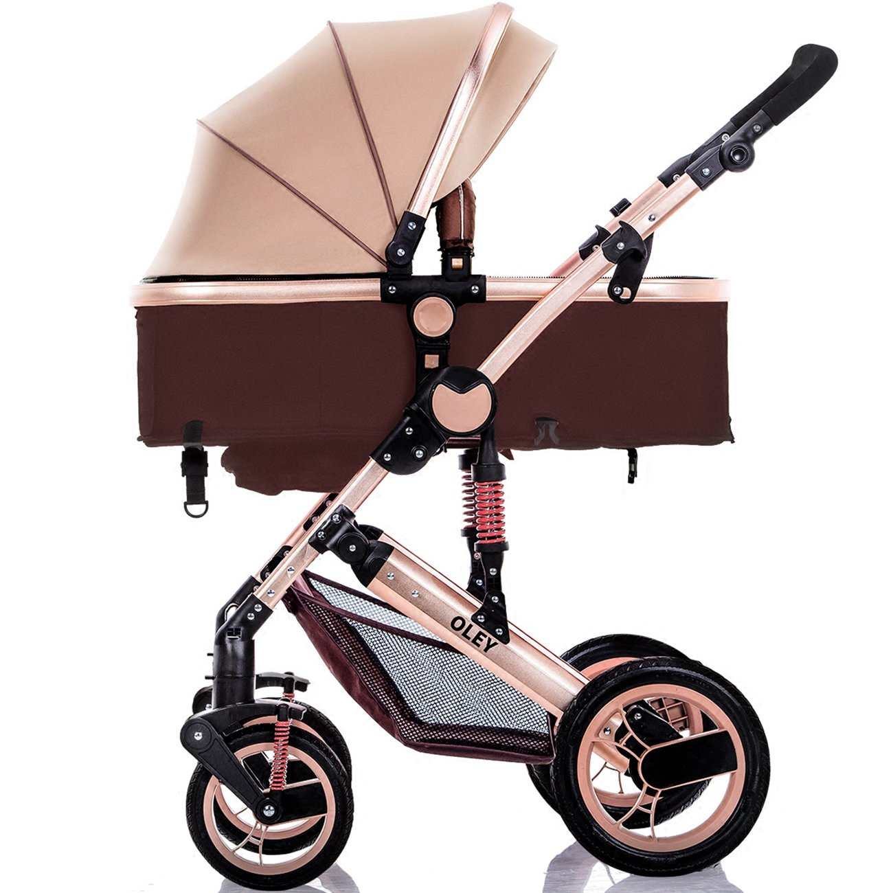 YBL High Landscape Baby Stroller Can sit Lie Down Four Rounds Strong Bearing Capacity Baby carriageTwo-Way Implementation Folding Suspension Suitable for 0-3 Year Old Baby Choice of City