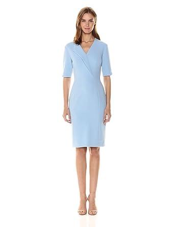 0894a3cb9588 Tahari by Arthur S. Levine Women's Three Quarter Sleeve Sheath Dress, ICE  Blue,