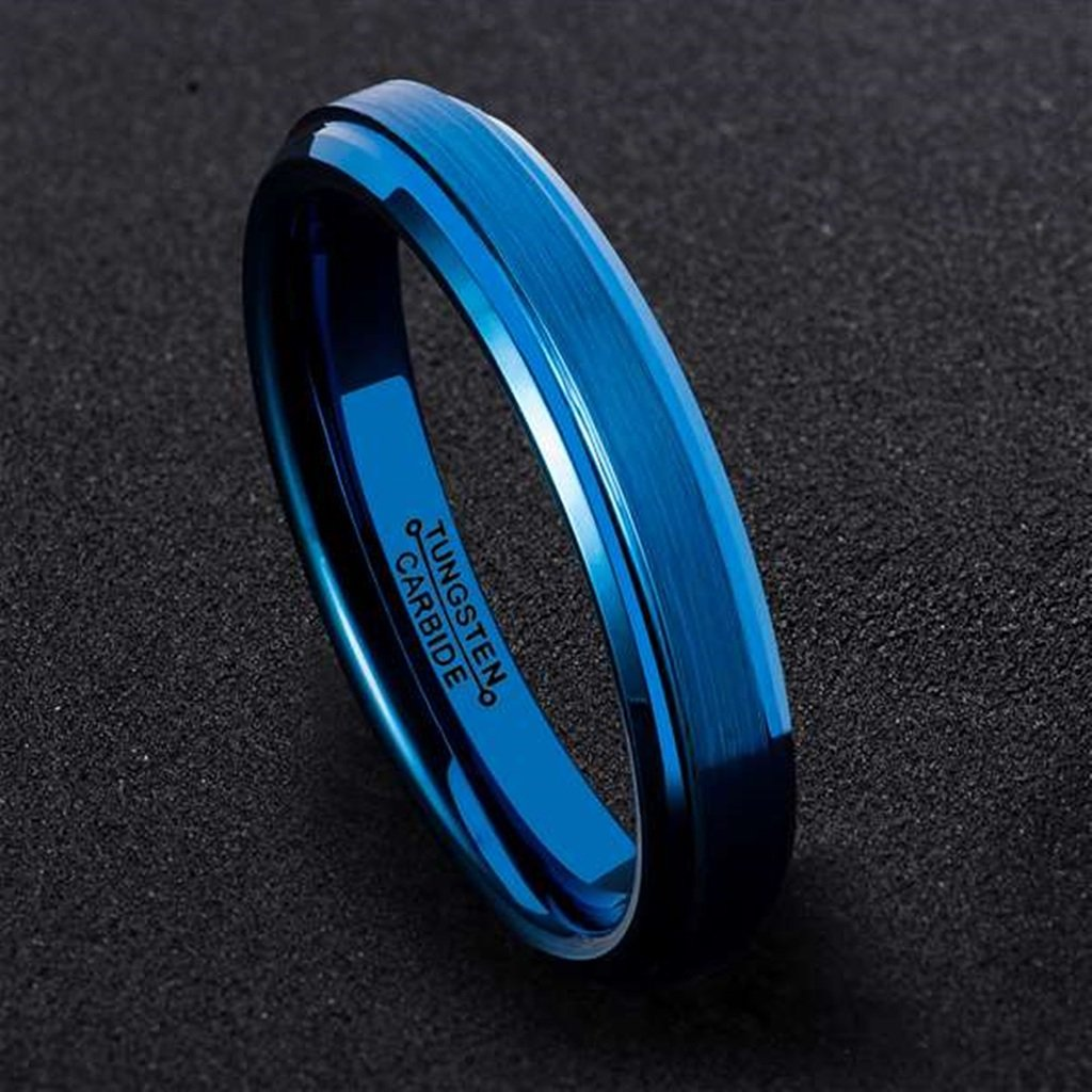 Bishilin Tungsten Carbide Wedding Band Ring Blue Brushed Center 4MM for Women Men Comfort Fit,Size 12