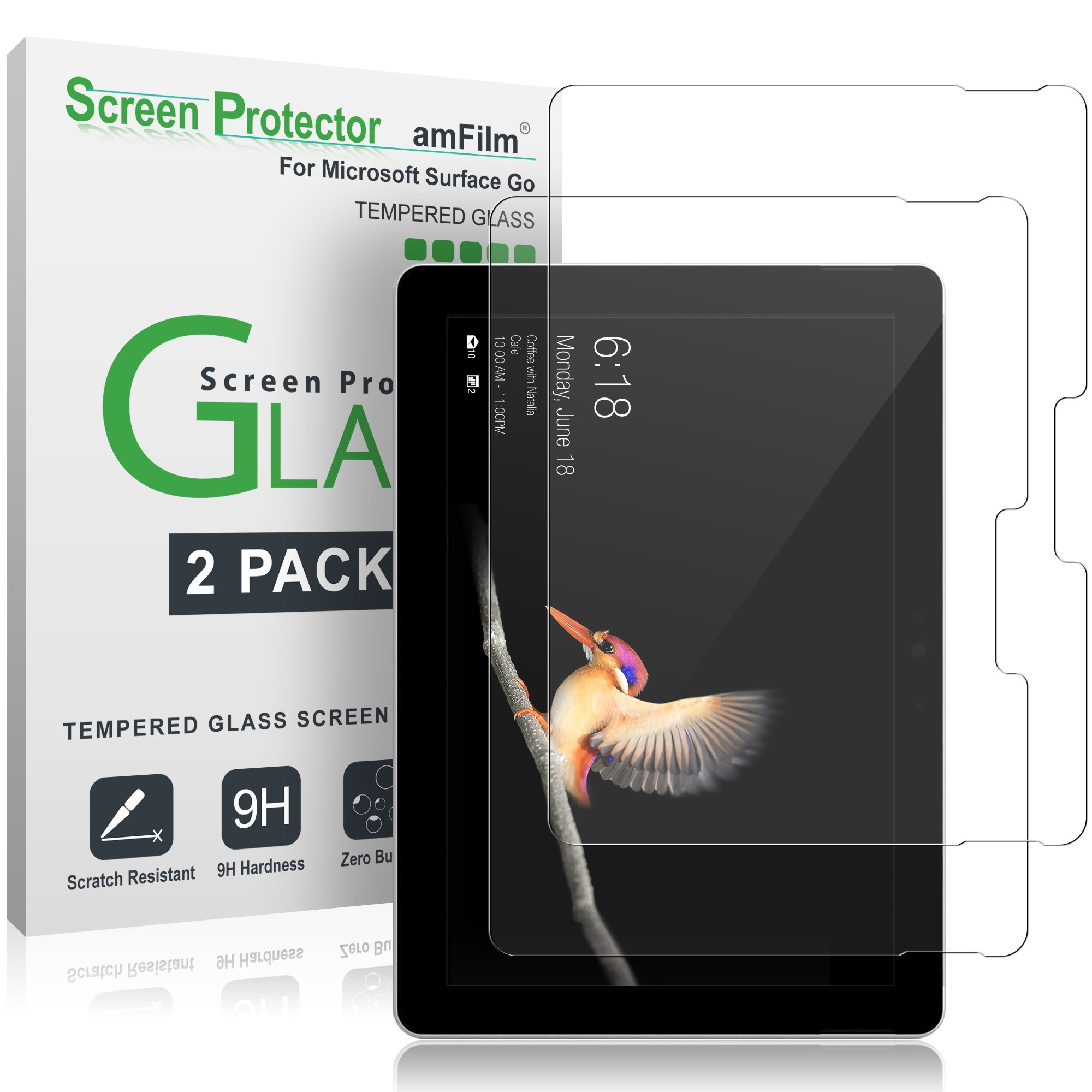 amFilm Surface Go Screen Protector Glass (2 Pack), Tempered Glass Screen Protector for Microsoft Surface Go 2-Pack
