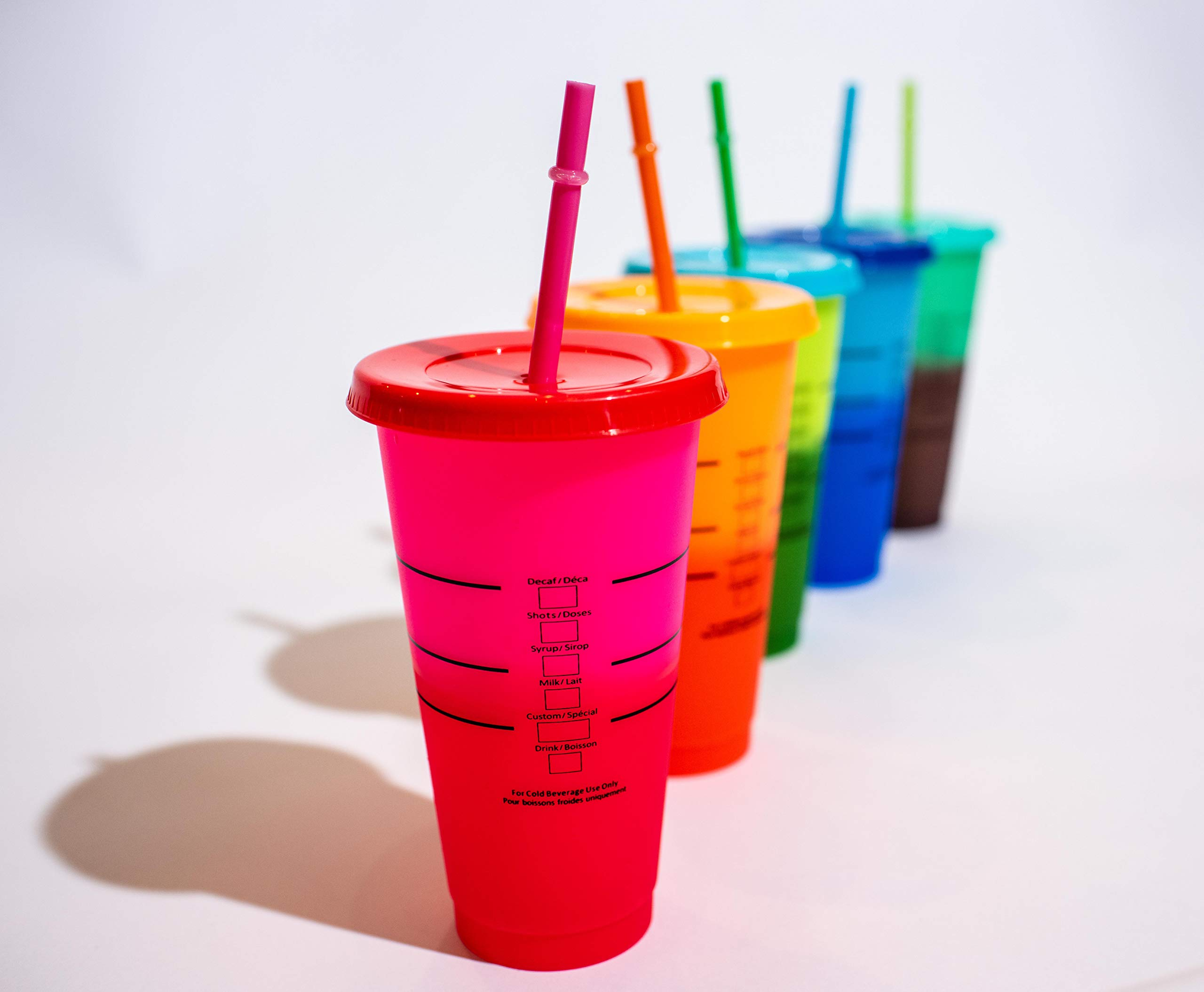 Take Three Boutique Color Changing 24oz Cold Cups - 5 Reusable Cups, Lids and Straws - Summer Coffee Tumblers - Summer Cups by Generic