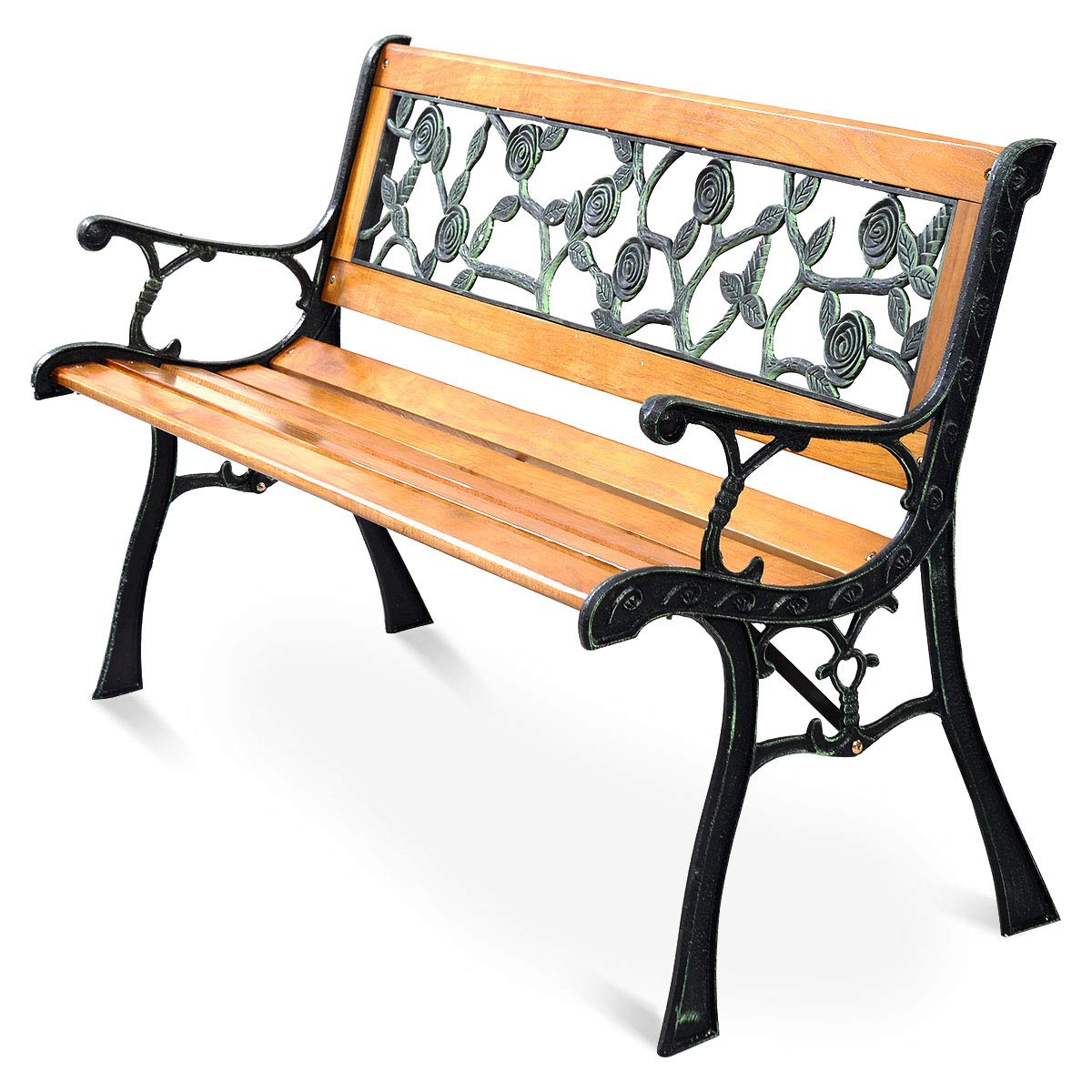 Giantex 50'' Patio Park Garden Bench, Outdoor Furniture Rose Cast Iron Hardwood Frame Porch Loveseat for 2 Person Outdoor