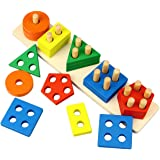 Dreampark Wooden Educational Toys, Wooden Shape Color Sorting Preschool Stacking Blocks Toddler Puzzles Toys Birthday Gifts f