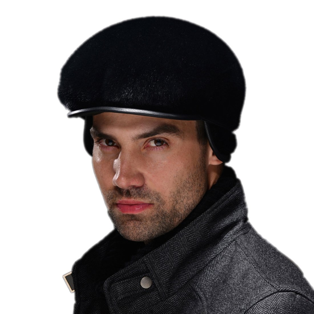 URSFUR Men's Sealskin Full Fur Cabbie Cap with Ear Flap Hat (Black)