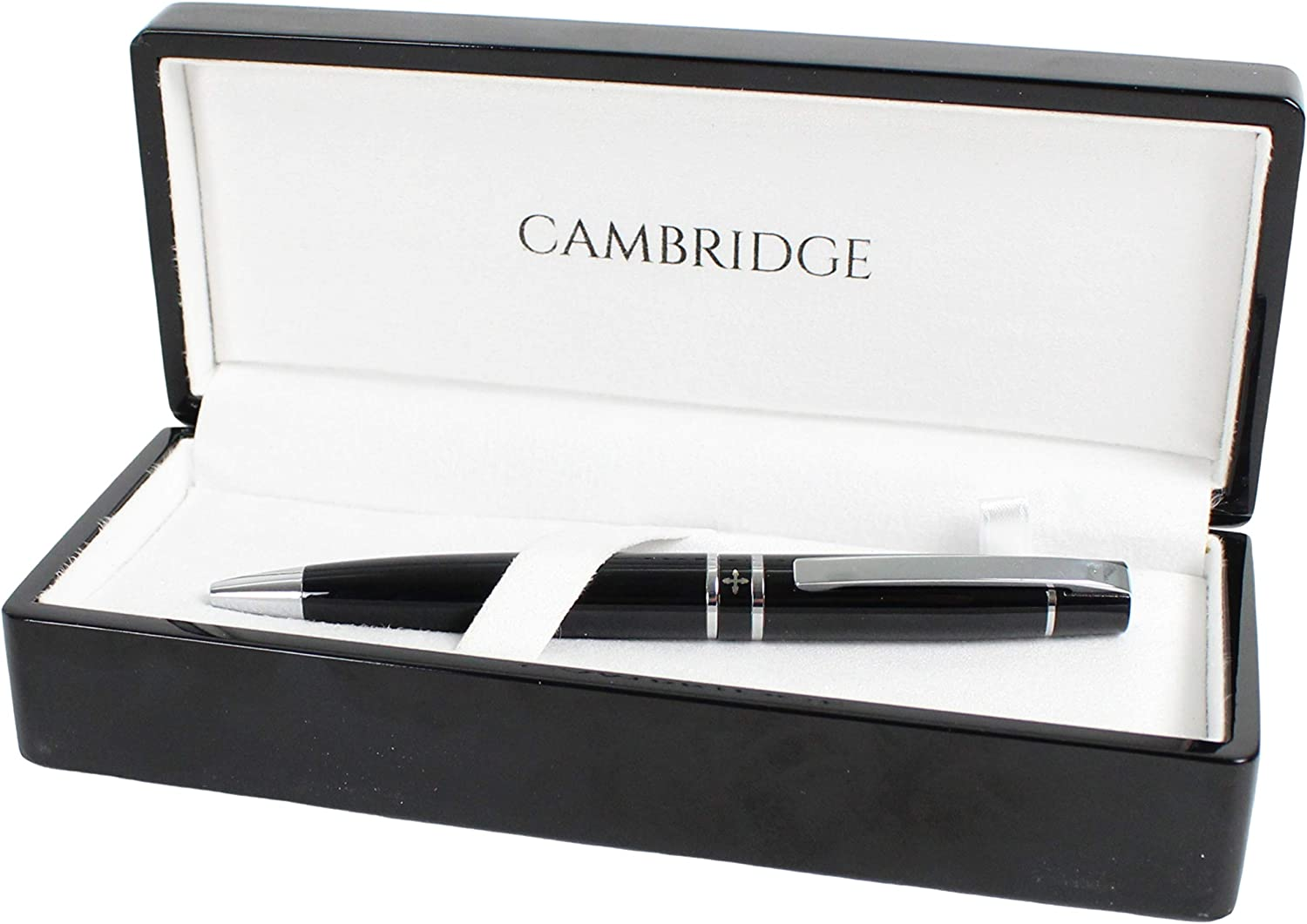Graduation Nice Gift for Fathers Day Thick Metal Medium Point Writing - Black Ink Office Coworkers Work Promotion Cambridge Luxury Retractable Ball Point Pen with Gift Box Display Case Set