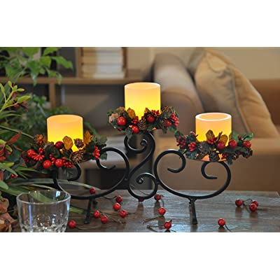 YAKii Classic Black Iron Stand with 3 Real Wax Flameless Candles, Scroll Candle Holder with LED Candles, for Home Decoration.: Home & Kitchen
