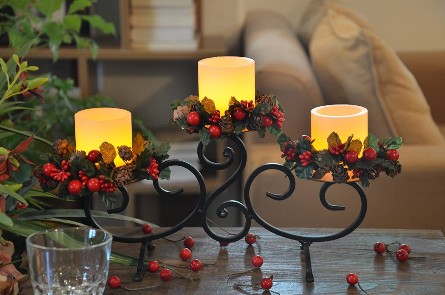 YAKii Classic Black Iron Stand with 3 Real Wax Flameless Candles, Scroll Candle Holder with LED Candles, for Home Decoration.