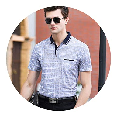 37693c071db3 Slim Shirt Mens Polo Men Designer with Short Sleeve Business Style Clothes  at Amazon Men's Clothing store: